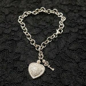 Sterling Silver Heart & Key Charm Bracelet